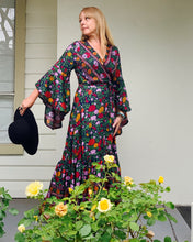 Eclectic Bohemian Midnight Floral Waterfall Wrap Dress