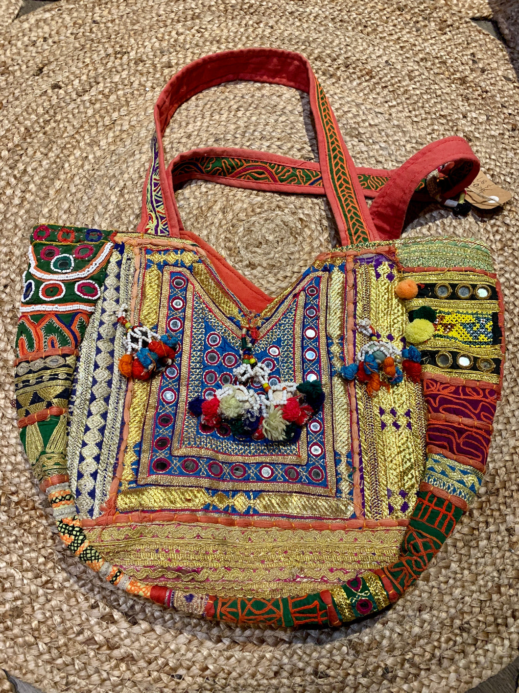 Banjara Vintage Oversize Embroidered Handbag Gold and Red