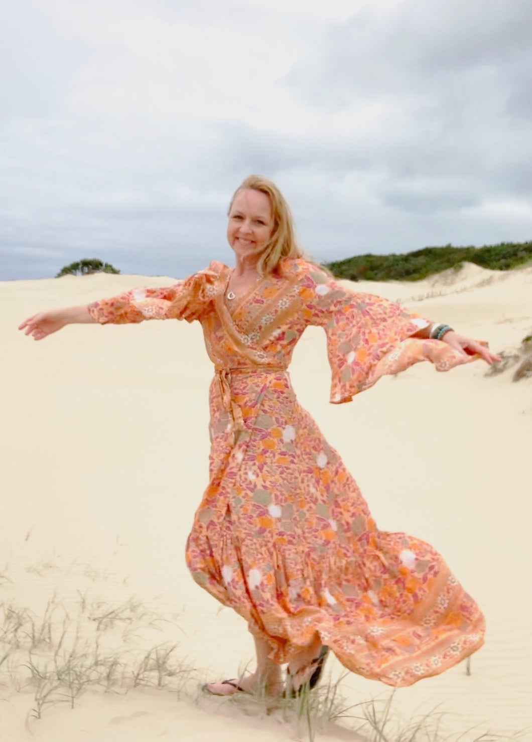 Eclectic Bohemian Marigold Wrap Dress