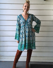 Festival Folk Print Dress Aqua and Blue