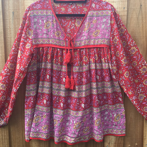 Blouse Folk Print Cotton Scarlett & Fuschia with Tassels