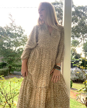 Gizelle Bohemian Smock Dress Latte Leopard - PREORDER arriving early June