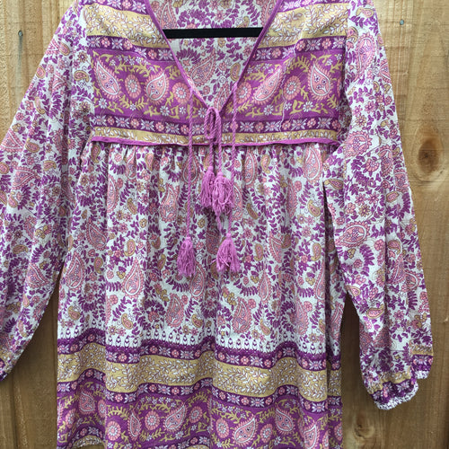 Blouse Paisley Cotton Mauve with Tassels -Last one L