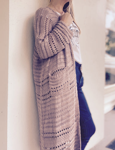 Cardigan Long Loose Knit Dusty Rose/Taupe