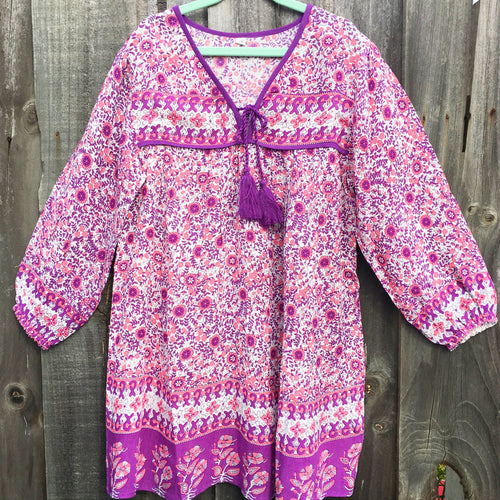 Bohemian Princess Folk Print Mini Me Dress Fuschia Purple