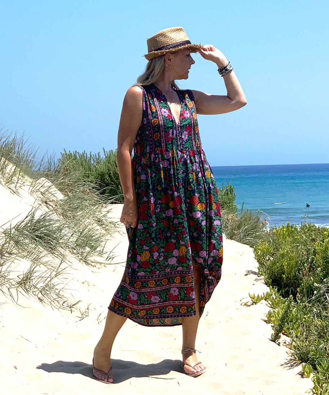 Eclectic Bohemian Sleeveless Sundress Midnight Floral