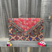 Banjara Vintage Clutch Handmade with Pressed Coin Detail - Dark Red
