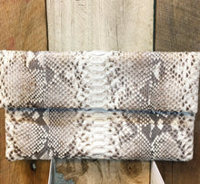 Leather Snakeskin Clutch Bag