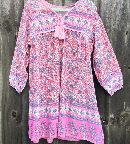 Bohemian Princess Folk Print Mini Me Dress Musk Stick Pink