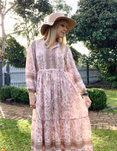 Eclectic Bohemian Gizelle Smock Dress Dusty Pink Crane