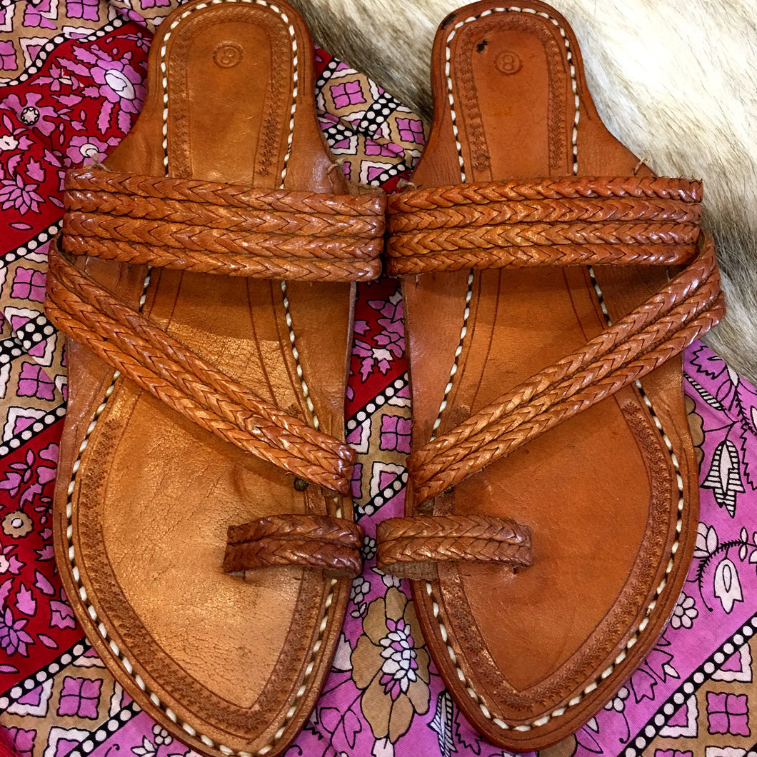 Leather Slides Tan Handmade in India