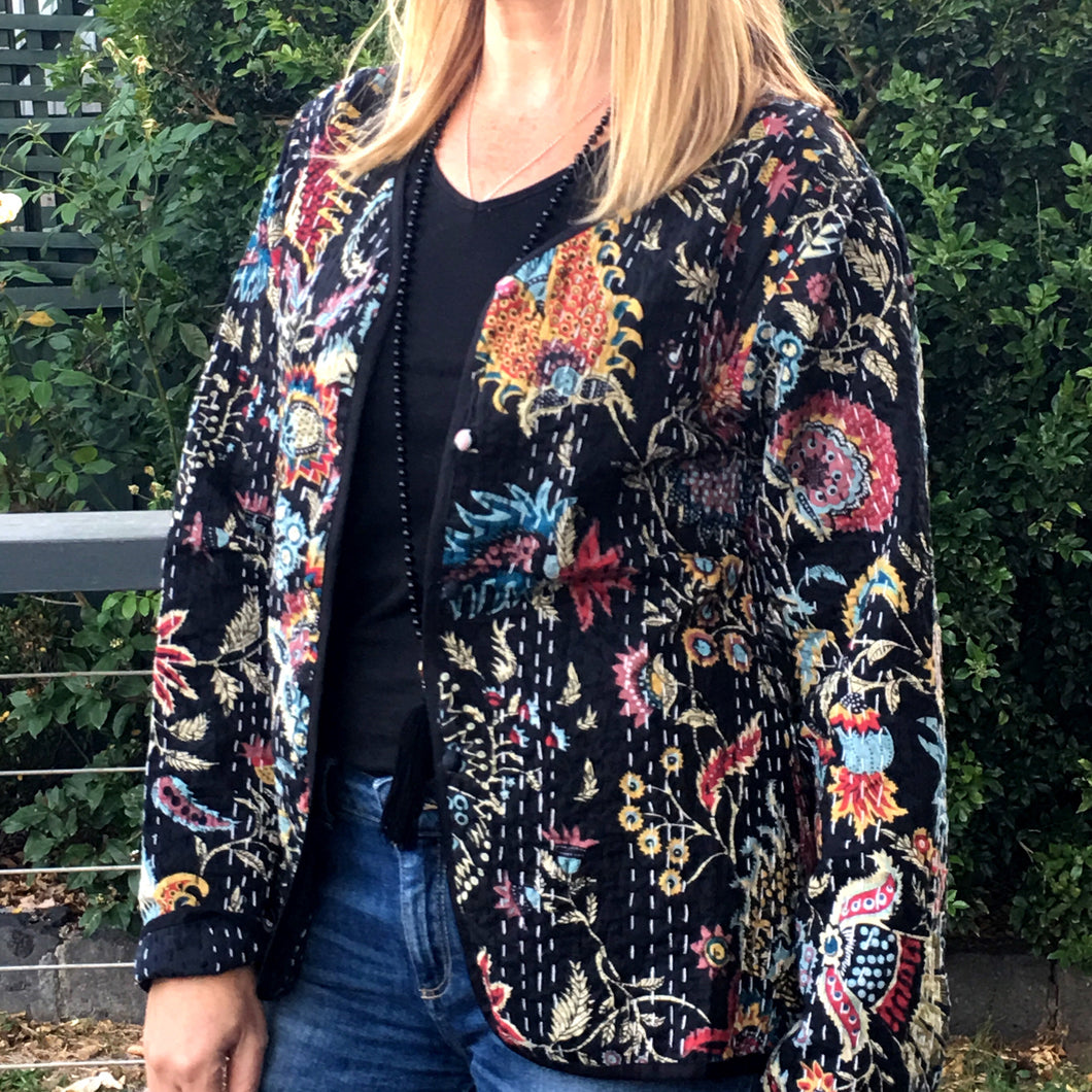 Kantha Cotton Jacket Black Floral - Last ones Small