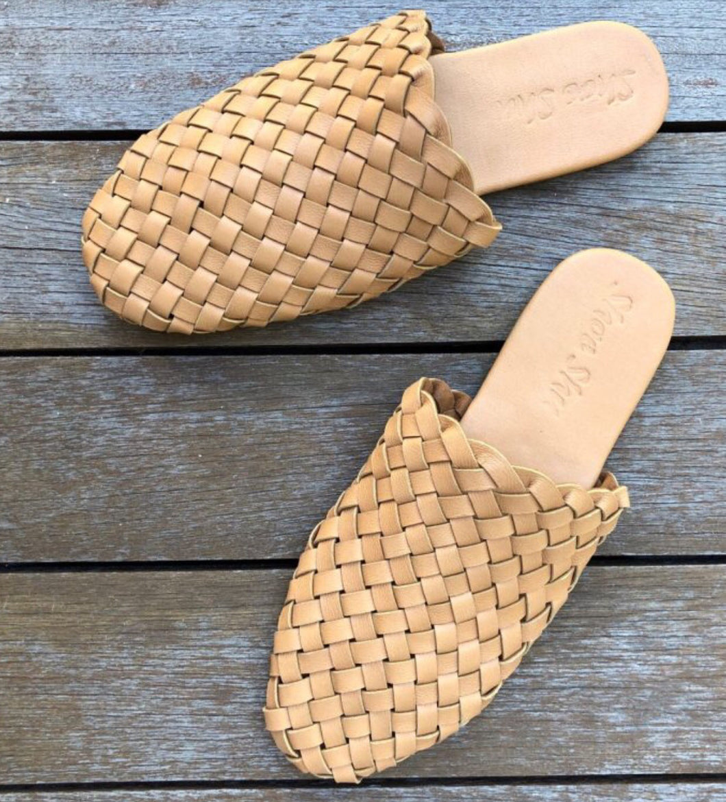 Leather Woven Slides -Light Tan Last size 39