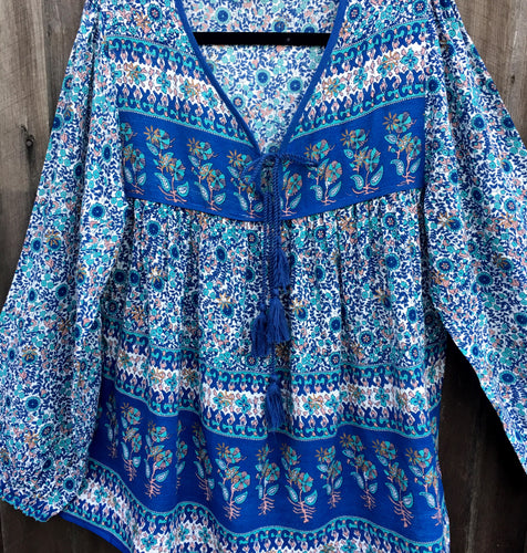 Blouse Folk Print Indian Rayon Dusk