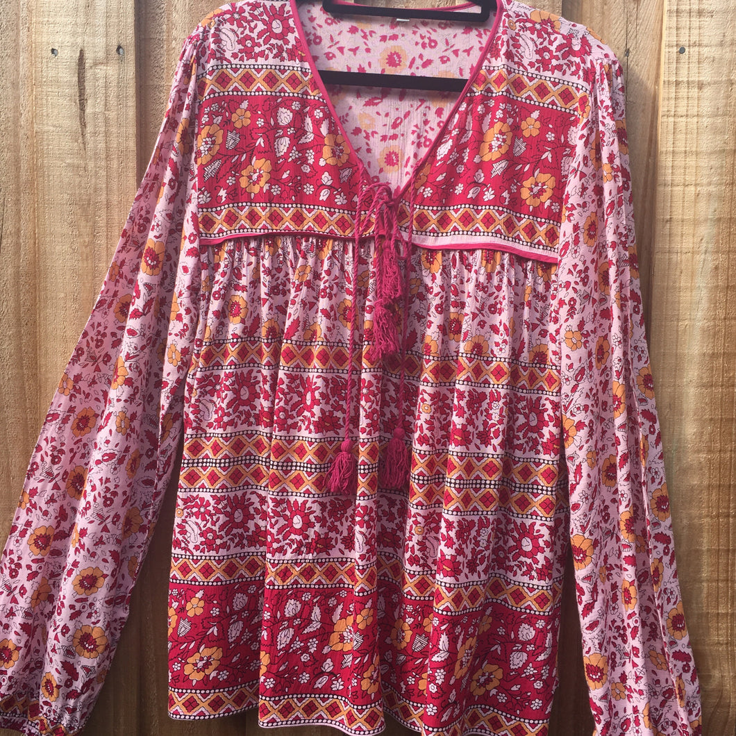 Blouse Folk Print Rayon Red and Yellow Floral
