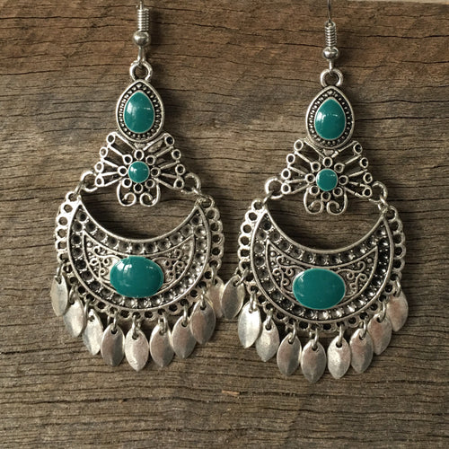 Earring Ornate Drop Aqua in Antique Silver