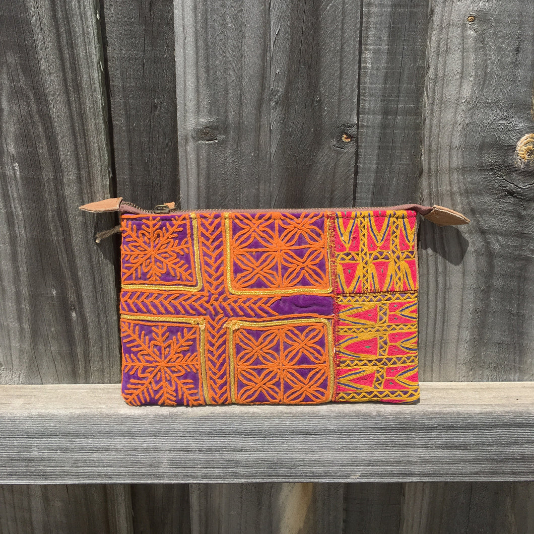 Purse Indian embroidered design with suede back