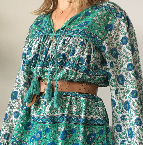Blouse Folk Print Cotton Green with Blue Flowers and Tassels