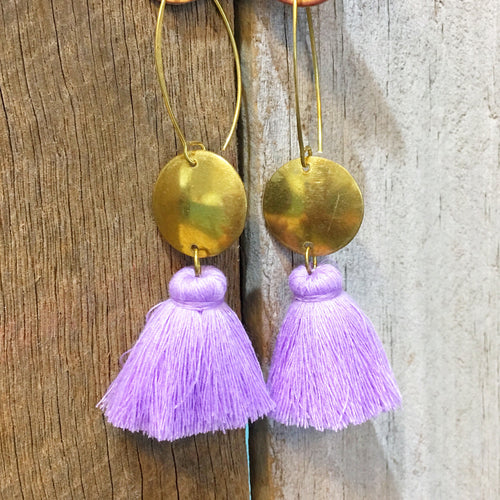 Earrings Large Tassel Lavender