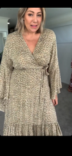 Eclectic Bohemian Waterfall Wrap Dress Latte
