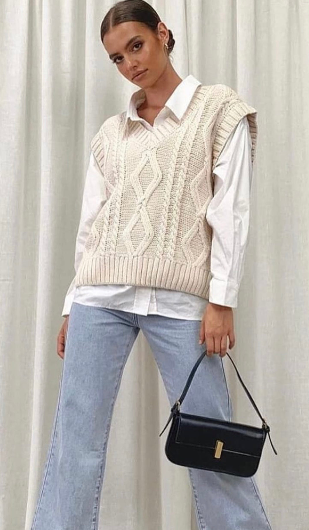 Cable Knit Vest White