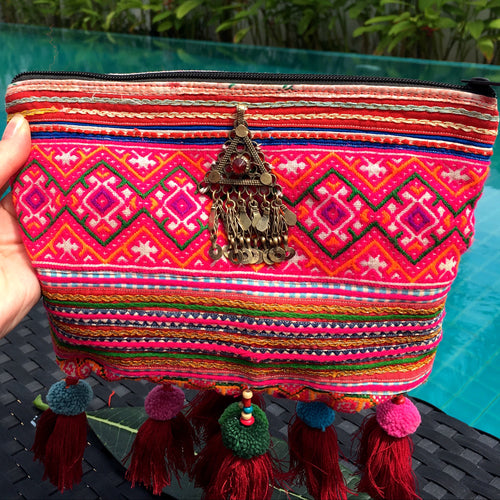 Chiang Mai Clutch with Afghani Jewels and Tassel