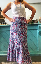 Wrap Skirt Block Print Blue and Pink