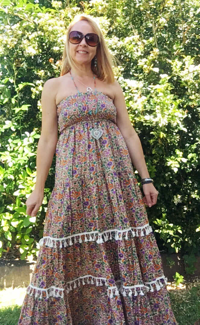 Maxi Sundress Vintage Floral Purple