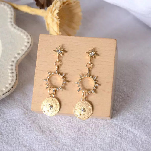Sun and Stars Drop Earrings