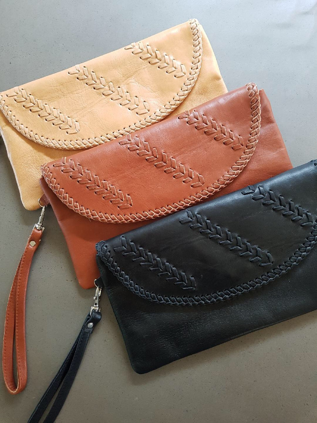 Leather Plait Clutch Bag