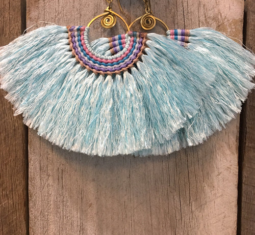 Fan Earrings Baby Blue