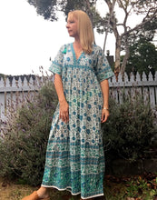 Folk Print Santorini Sundress Blue with Pink