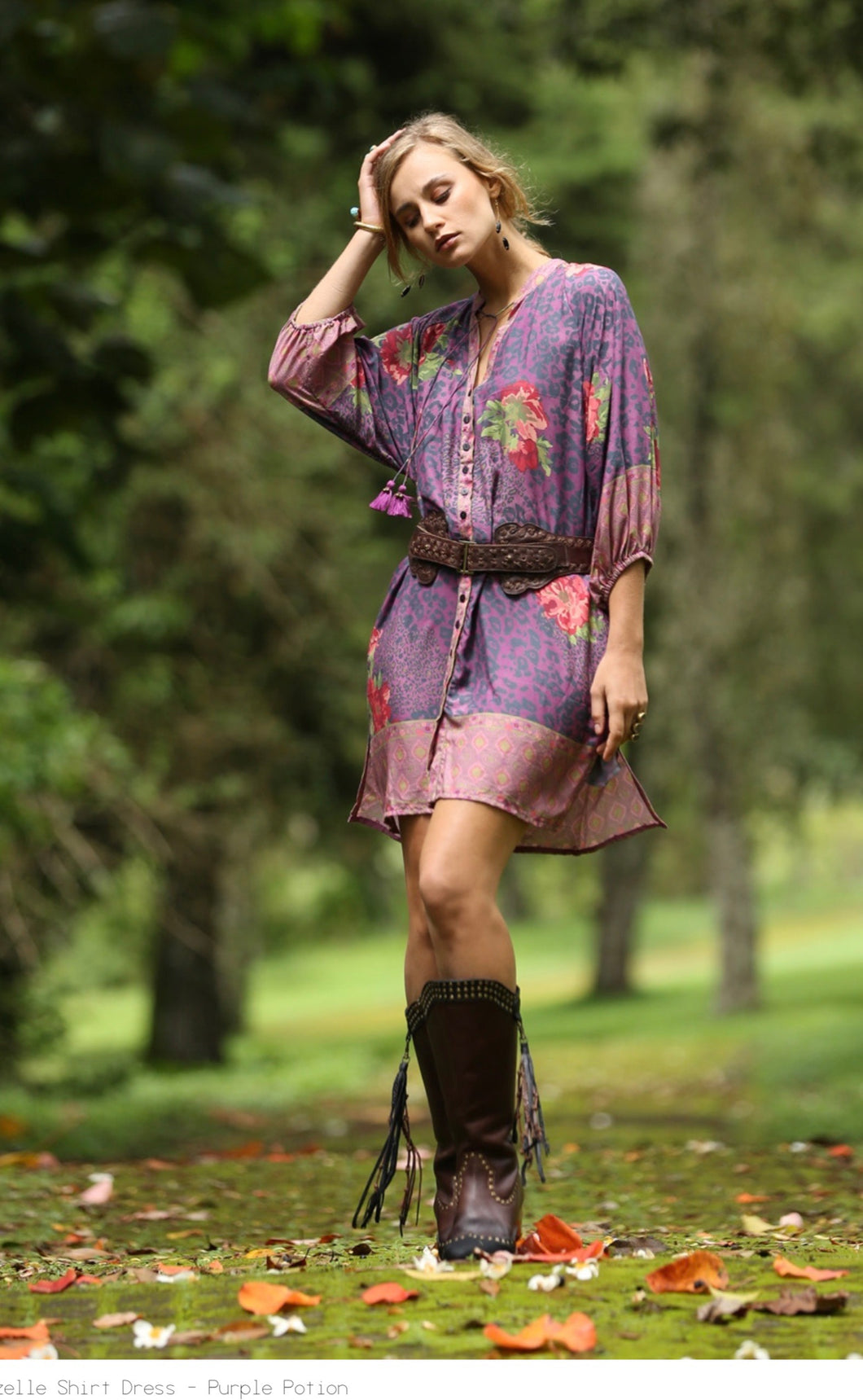 Rosettes Gazelle Shirt Dress - Last one Purple XS