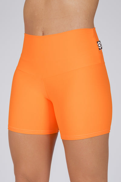 (R2W) Orange Performance - High Waisted Long Booty Shorts
