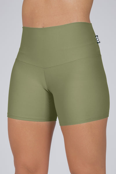 (R2W) Khaki Performance - Long Booty Shorts High Waisted