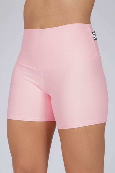 (R2W) Pale Pink Performance - Long Booty Shorts High Waisted