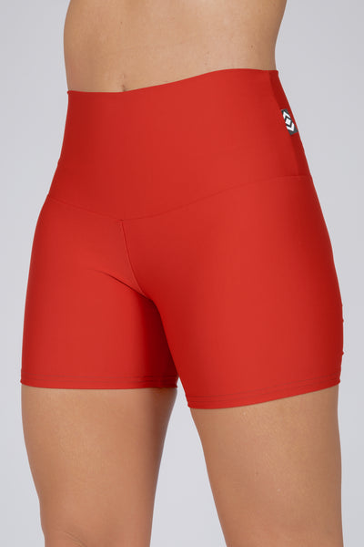 (R2W) Red Performance - High Waisted Long Booty Shorts