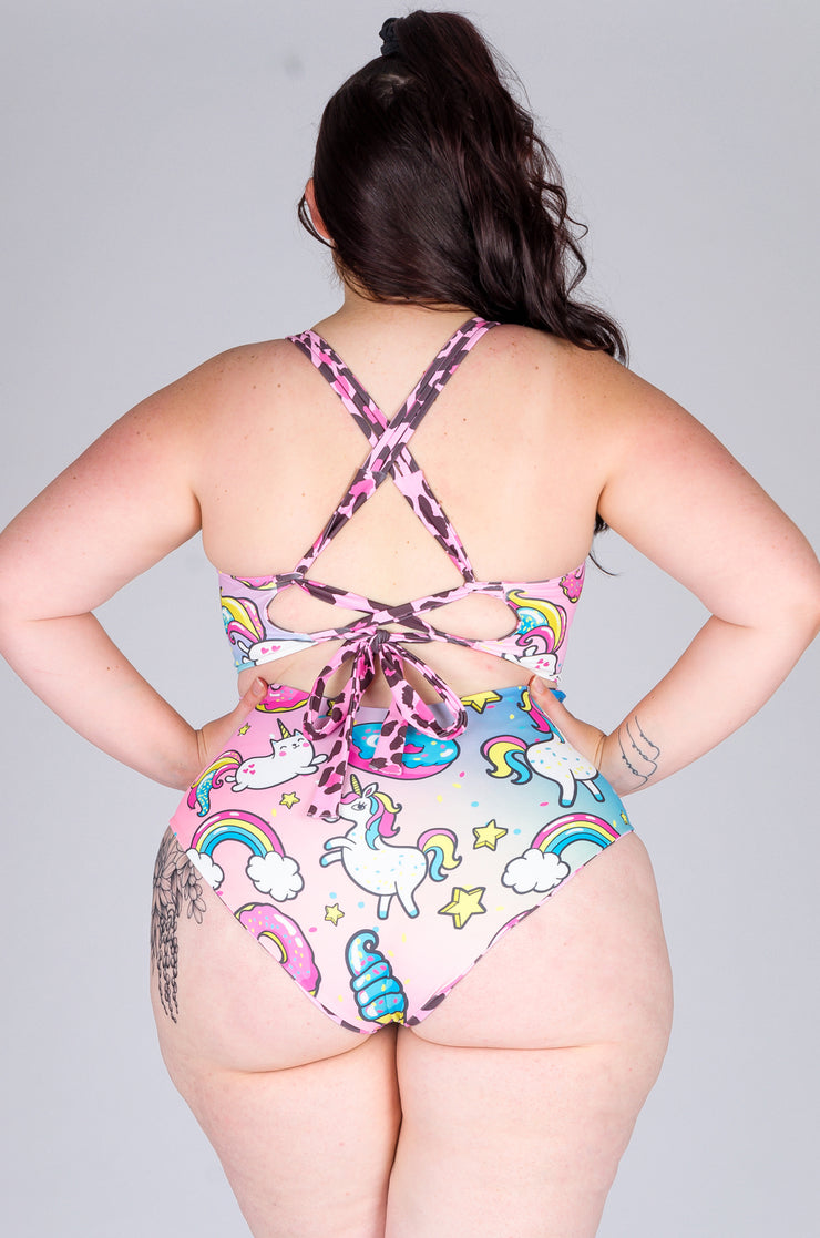 (R2W) Cotton Candy Cub w/ Unicorn - Cross Over Full Coverage One Piece