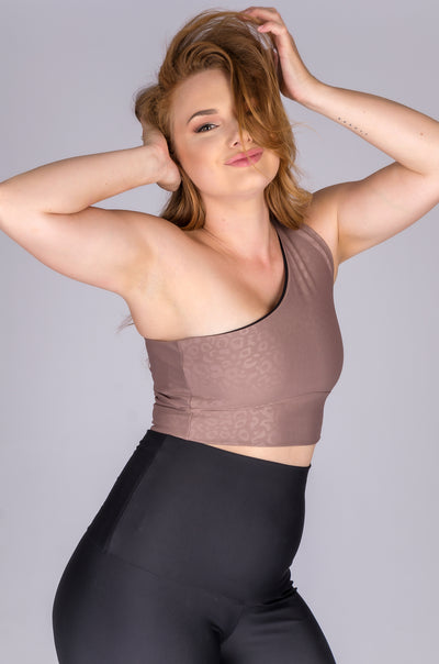 (R2W) Mocha Exotic Touch Jag - One Shoulder Comfort Crop Top