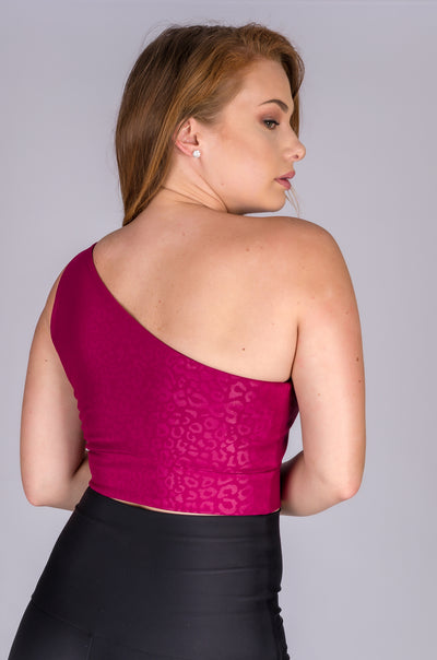 (R2W) Berry Exotic Touch Jag - One Shoulder Comfort Crop Top