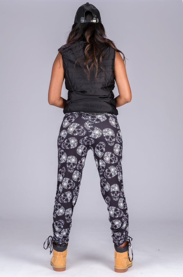 (R2W) Sparkle Skull Soft To Touch - Jogger Long Tie Sided W/ Pockets