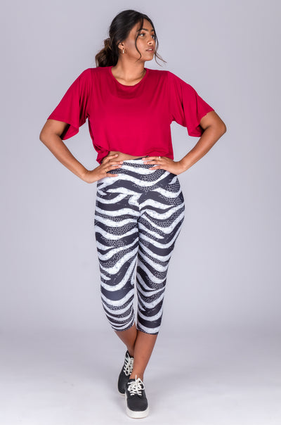 Body Contouring High Waisted Capri Leggings - Wild Desert Rose