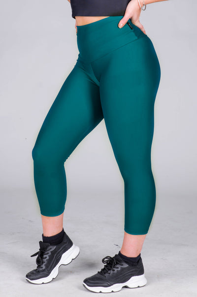 (R2W) Teal Performance - High Waisted Capri Leggings - Exoticathletica