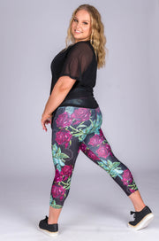 (R2W) Succulent Rose Performance - High Waisted Capri Leggings