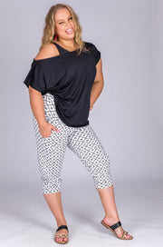 (R2W) Exotic Monogram White Soft to Touch - Jogger Capris w/ Pockets