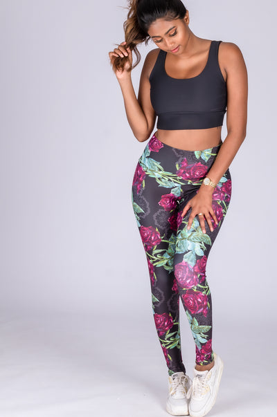 (R2W) Succulent Rose Performance - High Waisted Leggings