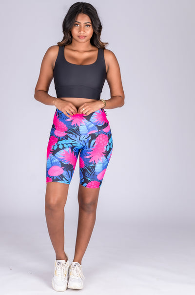 (R2W) Tropical Punch Performance - High Waisted Long Shorts