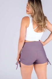 (R2W) Purple Grey Performance - High Waisted Tie Side Booty Shorts