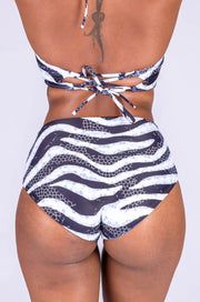 (R2W) Jungle Zebra w/ Believe the Hype - Full Coverage High Waisted Bikini Bottoms