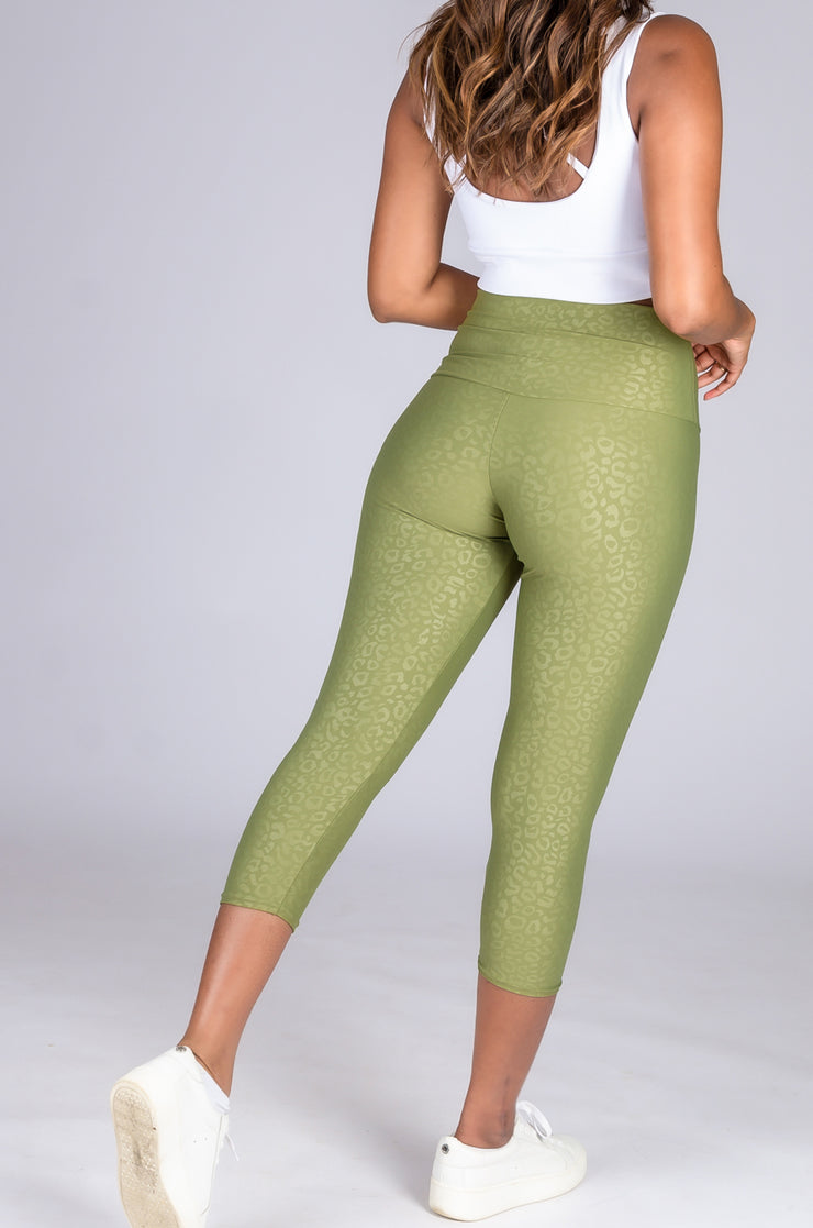 (R2W) Khaki Exotic Touch Jag - High Waisted Capri Leggings